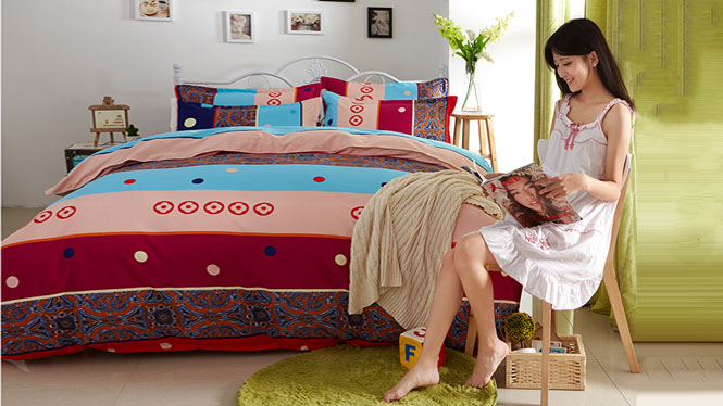 100%纯棉 长绒棉四件套 全棉被套保暖四件套 床上用品卡地亚描