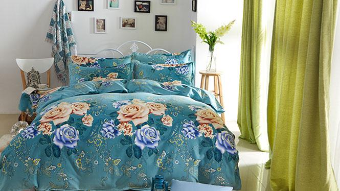 纯棉长绒棉纯色四件套 全棉豪华被套床单4件套美丽花景