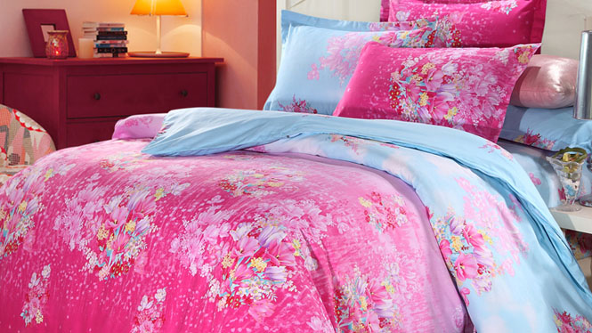 长绒棉针织四件套 简约裸睡家居床上4件套俏美江南