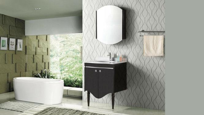 浴室柜 欧式落地式浴室柜 实木 橡木卫浴柜组合一体陶瓷洗脸盆650mm YP-808A