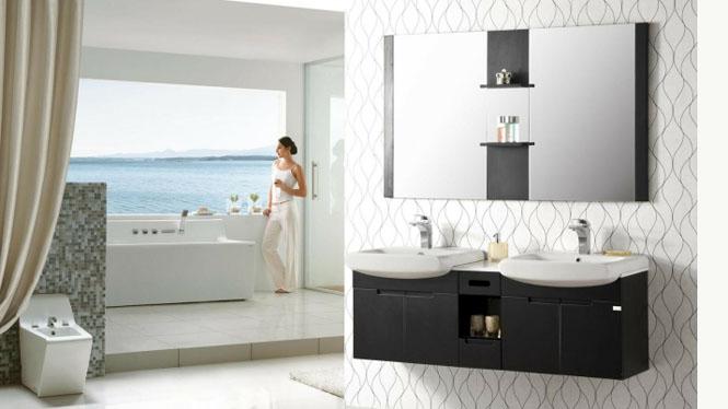 实木双人卫浴柜 欧式浴室柜洗脸盆洗手盆 洗手盆柜挂墙式吊柜1520mm YP-60150