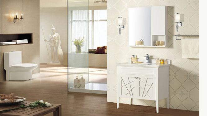 卫浴柜现代简约浴室柜组合纯橡木实木镜柜组合陶瓷洗脸盆落地柜965mm YP-824