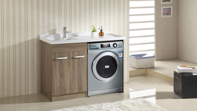 洗衣柜滚筒洗衣机柜阳台石英石洗衣池带搓板实木浴室柜组合1200mm1100mm HLN-002
