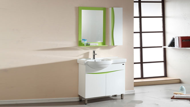 PVC浴室柜组合现代简约洗手盆洗漱台陶瓷盆卫浴落地柜900mm 1039