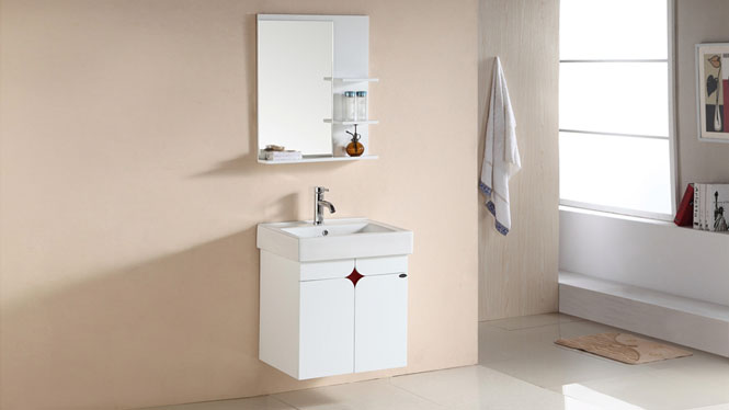 简约落地PVC浴室柜组合洗脸洗手盆池洗漱台盆卫生间吊柜566mm 1061