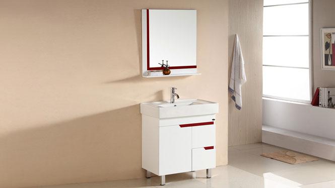 浴室柜 PVC落地柜 浴室镜子卫浴柜 洗手脸盆台 厕所柜组合705mm 1062