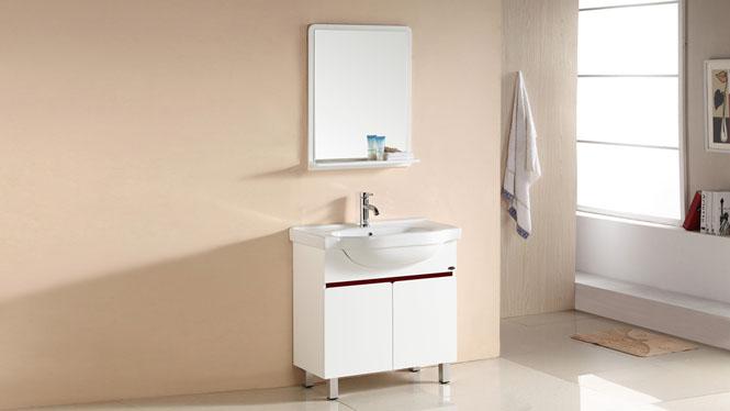 简约PVC浴室柜组合洗手台盆柜整体卫浴柜陶瓷台盆卫生间落地柜750mm 1060