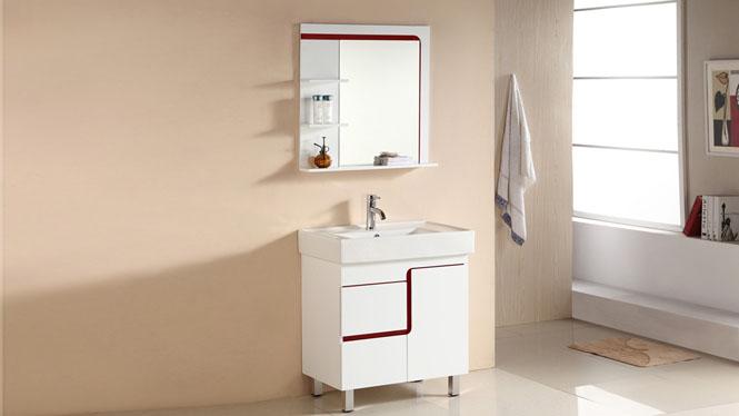 简约PVC实木橡木浴室柜洗脸盆组合浴室卫浴柜子落地柜720mm 1063