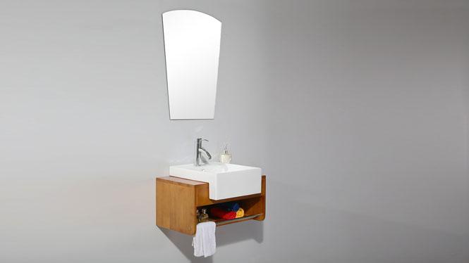 浴室柜组合 实木卫浴柜小户型镜柜现代洗脸盆吊柜700mm600mm 2017