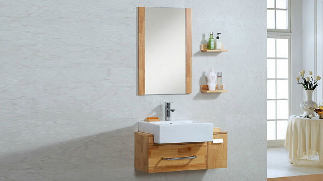 简约现代浴室柜组合洗漱台洗脸盆镜柜卫浴柜实木储物吊柜900mm600mm700mm800mm1000mm 1026