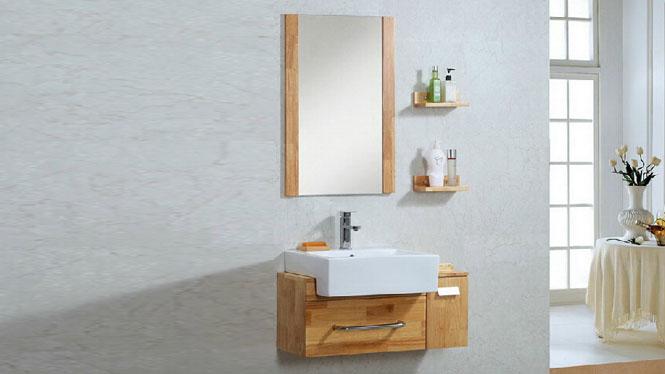 简约现代浴室柜组合洗漱台洗脸盆镜柜卫浴柜实木储物吊柜700mm600mm800mm900mm1000mm 1026