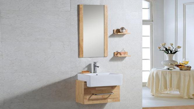简约现代浴室柜组合洗漱台洗脸盆镜柜卫浴柜实木储物吊柜600mm700mm800mm900mm1000mm 1026