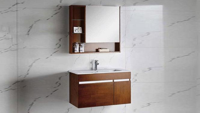 现代简约卫生间洗漱台洗手洗脸台盆实木卫浴柜组合吊柜900mm600mm700mm800mm1000mm 1088
