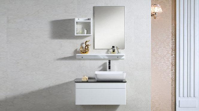 浴室柜组合 卫浴柜镜柜 实木吊柜 悬挂式洗手台脸中盆柜1000mm600mm700mm800mm900mm 1067