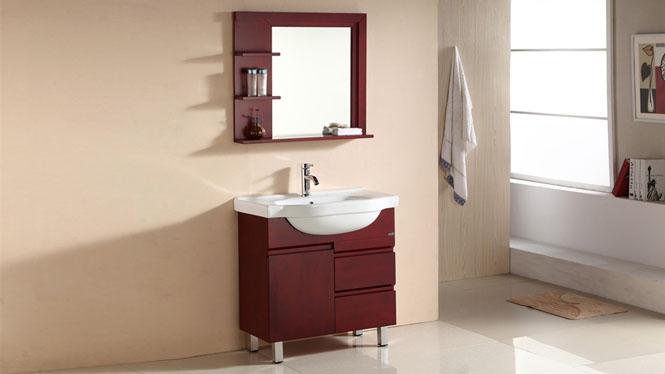 简约浴室柜子落地实木卫浴组合柜卫生间洗漱盆台上盆808mm 1059