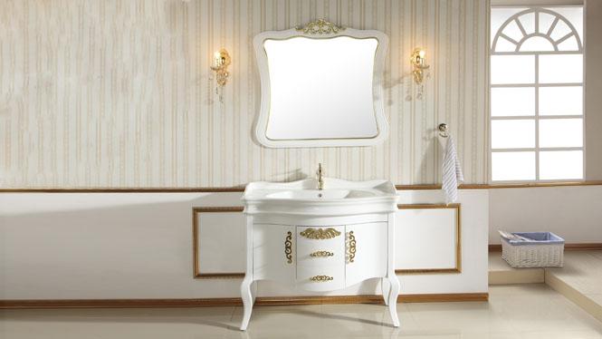 浴室柜组合现代简约落地式柜欧式实木卫浴柜洗漱台洗脸盆柜1000mm900mm800mm 1057