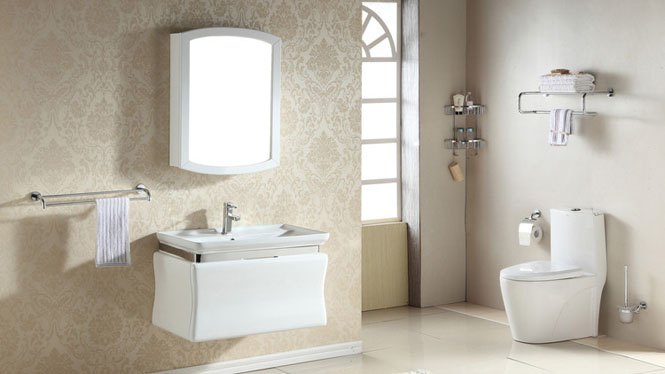 实木浴室柜组合现代简约洗脸台上盆挂墙式卫浴镜柜800mm700mm 1052
