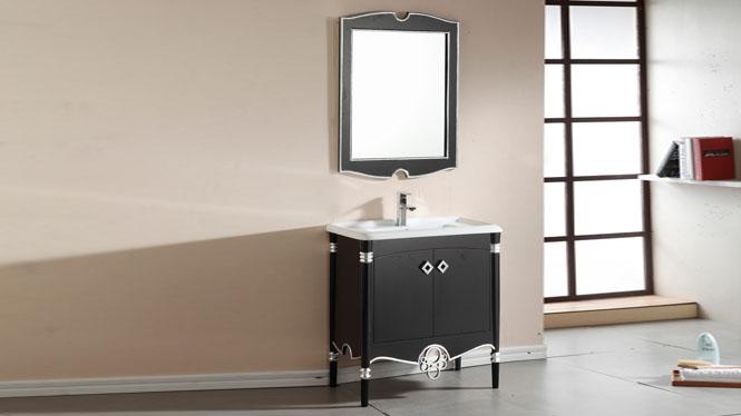 实木浴室柜洗手盆组合卫生间实木镜柜洗漱台落地柜洗脸盆柜800mm900mm1000mm 1040