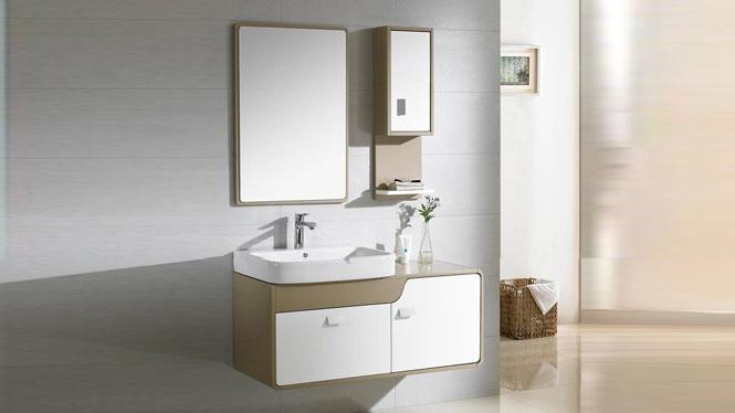 简约现代浴室柜组合小洗漱台实木吊柜卫生间洗脸洗手盆柜1000mm900mm800mm 1038