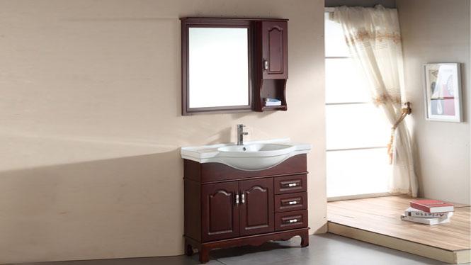 简约现代浴室柜欧式卫浴柜实木洗手盆洗脸盆柜组合洗漱台1100mm800mm900mm1000mm1200mm 1037茶青