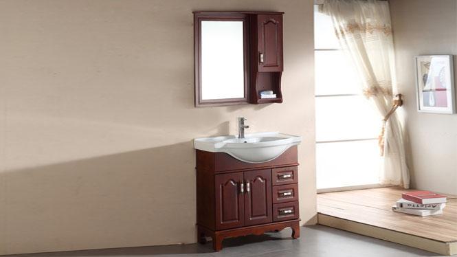 简约现代浴室柜欧式卫浴柜实木洗手盆洗脸盆柜组合洗漱台800mm900mm1000mm1100mm1200mm 1037茶青