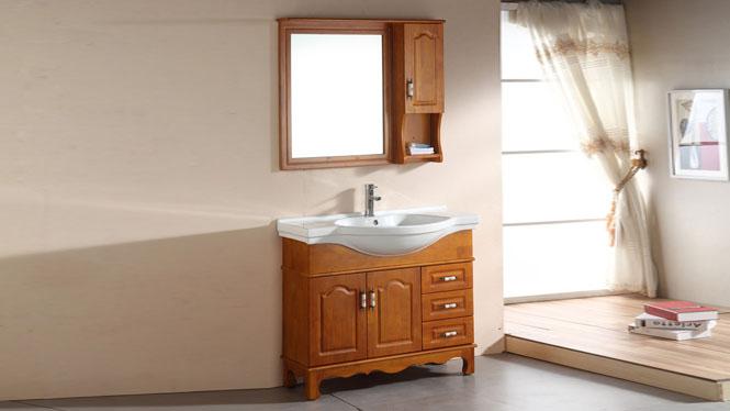 简约现代浴室柜欧式卫浴柜实木洗手盆洗脸盆柜组合洗漱台1000mm800mm900mm1100mm1200mm 1037栗子