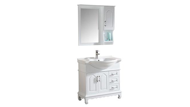 简约现代浴室柜欧式卫浴柜实木洗手盆洗脸盆柜组合洗漱台800mm900mm1000mm1100mm1200mm 1037白色