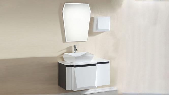 现代简约浴室柜组合洗脸洗手面盆池洗漱台实木卫生间吊柜1000mm900mm800mm 1032