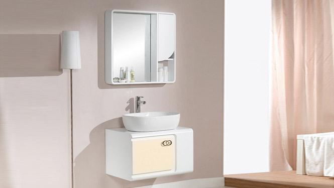 浴室柜组合新款实木卫浴吊柜陶瓷洗手盆洗漱台卫生间套装750mm 1023