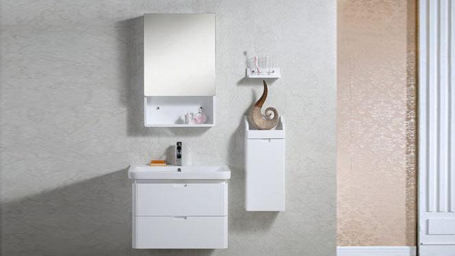 实木浴室柜组合现代简约欧式洗手盆洗漱台陶瓷盆卫浴吊柜690mm 1021