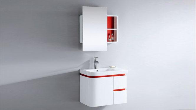 简约现代浴室柜组合洗漱台洗脸盆镜柜卫浴柜实木储物吊柜710mm 1008