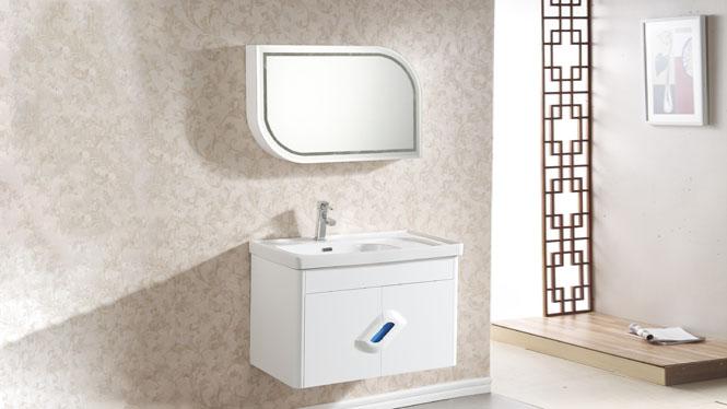 浴室柜组合现代简约挂墙式吊柜实木卫浴柜洗漱台洗脸盆柜800mm 1007