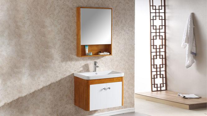 浴室柜组合 现代简约欧式实木浴柜挂墙式洗脸盆洗刷台组合700mm 1005