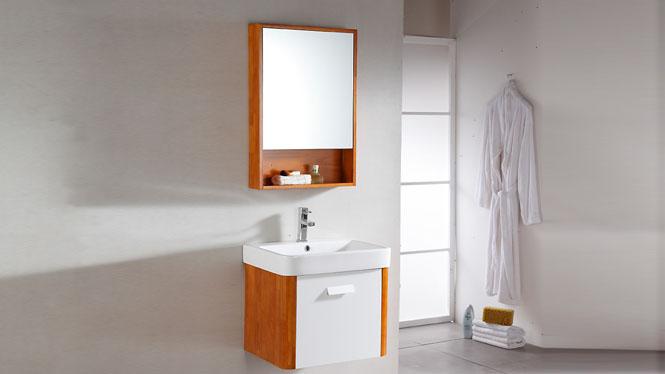 卫浴浴室柜吊柜组合挂墙式镜柜实木洗脸盆浴柜现代简约600mm 1004