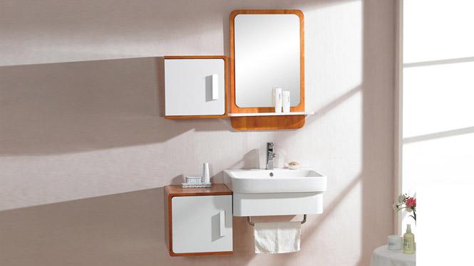 实木浴室柜吊柜挂墙式浴柜洗手盆柜组合洗漱台镜柜现代简约610mm 1003