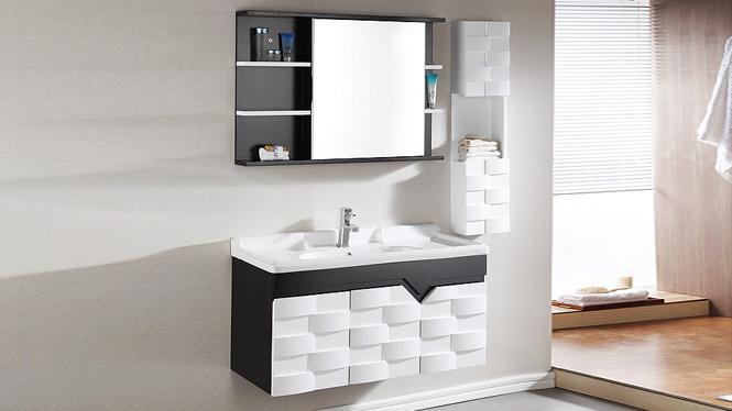 浴室柜组合现代简约挂墙式吊柜欧式实木卫浴柜洗漱台洗脸盆柜1000mm600mm700mm800mm  1001