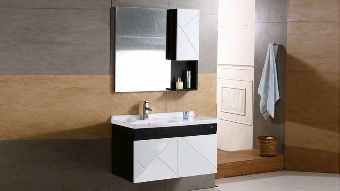 浴室柜组合 现代简约卫浴柜 挂墙式吊柜实木洗脸盆柜900mm 0942