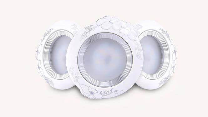 陶瓷天花灯客厅吊顶灯开孔7.5led筒灯2.5寸3W全套欧式洞灯具M003A