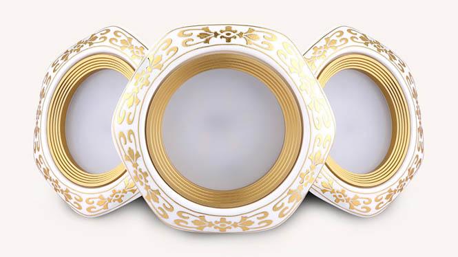 led筒灯欧式陶瓷天花灯金色方形2.5寸7.5CM3W客厅卧室孔灯M005A