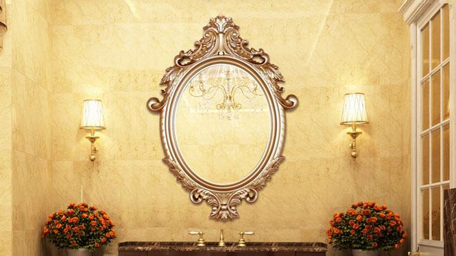 欧式镜浴室镜卫生间镜子塑料装饰镜双盆洗手间壁挂镜KT021