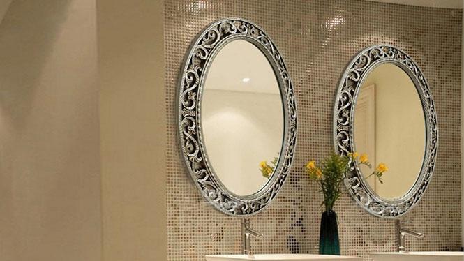 欧式客厅卧室墙面装饰镜铁艺壁挂镜玄关镜子浴室镜圆形太阳镜子KT075