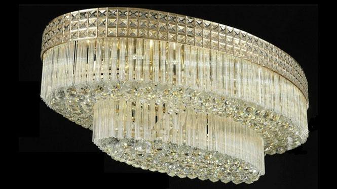 S金传统椭圆形水晶吸顶灯客厅水晶灯灯具圆形灯餐厅灯饰HR6601