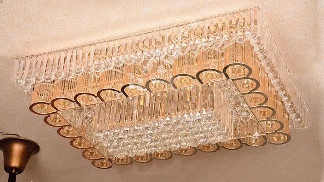 现代简约水晶灯长方形客厅灯大气三层卧室吸顶灯LED大厅灯饰灯具HR8863
