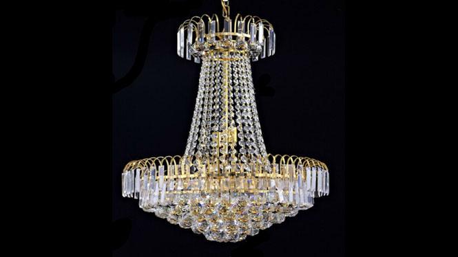 餐厅吊灯 别墅楼梯 金色传统水晶灯 中式水晶吊灯 吊灯HR6604