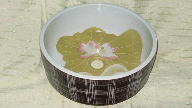 彩绘台上盆洗脸盆陶瓷洗手盆台上洗面盆特价D-25