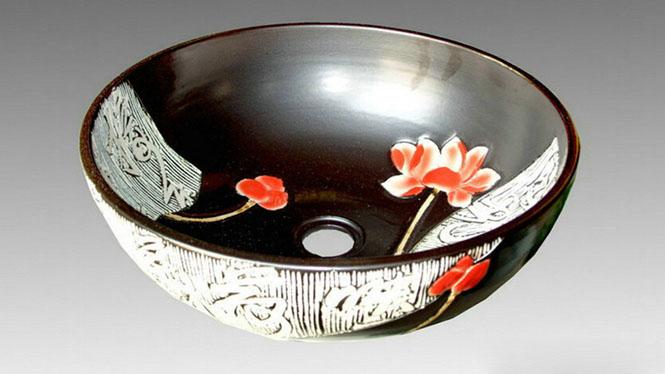 彩绘陶瓷艺术面盆台上盆洗脸盆洗手盆 无光黑系列W-14