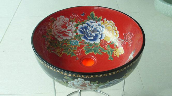 陶瓷艺术台盆洗面盆台上盆洗脸盆洗手盆--黑红牡丹Y-44