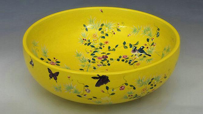 陶瓷罗汉型单孔洗手盆洗衣盆洗手间盆居家瓷器台上盆Y-04