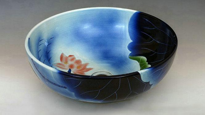 手绘青花瓷器艺术台盆洗脸盆面盆手盆 卫浴台盆D-09