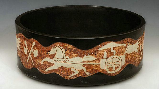 直筒型深雕艺术台盆景德镇陶瓷艺术洗脸盆 无光黑浮雕W-07